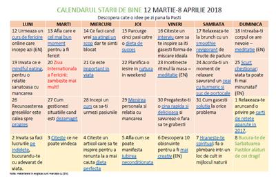 Calendarul starii de bine